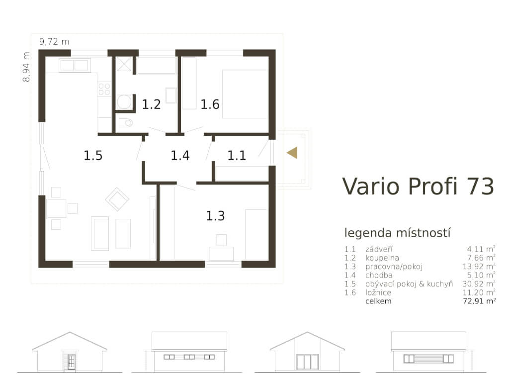 Male Drevostavby Maly Bungalov Vario Profi 73 Atrium